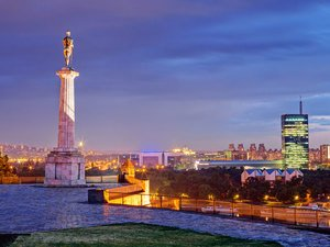 "View from Kalemegdan fortress to New Belgrade and monument ""Belgrade winner"""