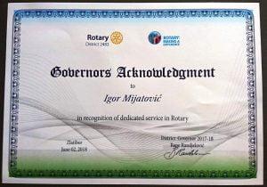 Rotary International Presidental Citation 2017/2018